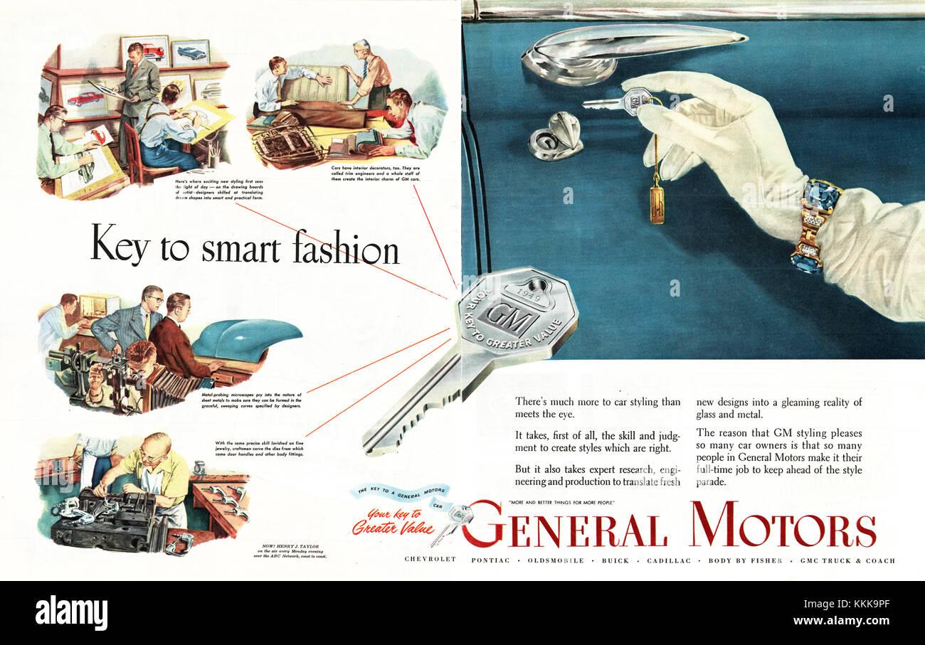 1949 U.S. Magazine General Motors Advert - Stock Image