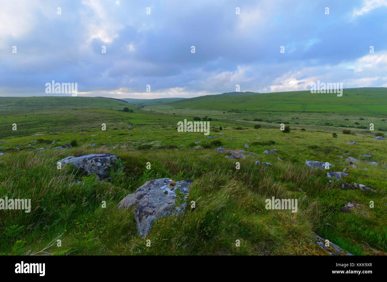 View over Bodmin Moor towards Kilmar Tor - Stock Image