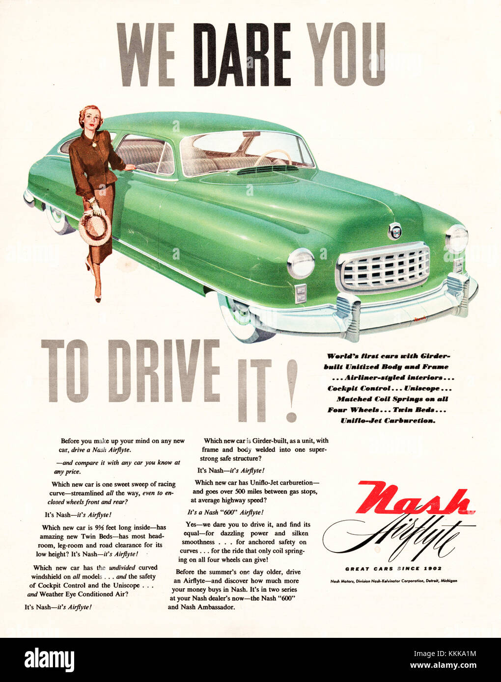 1949 U.S. Magazine Nash Cars Advert - Stock Image