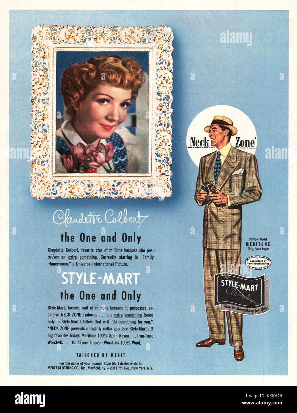 1949 U S  Magazine Style-Mart Suits Advert Stock Photo: 166996766