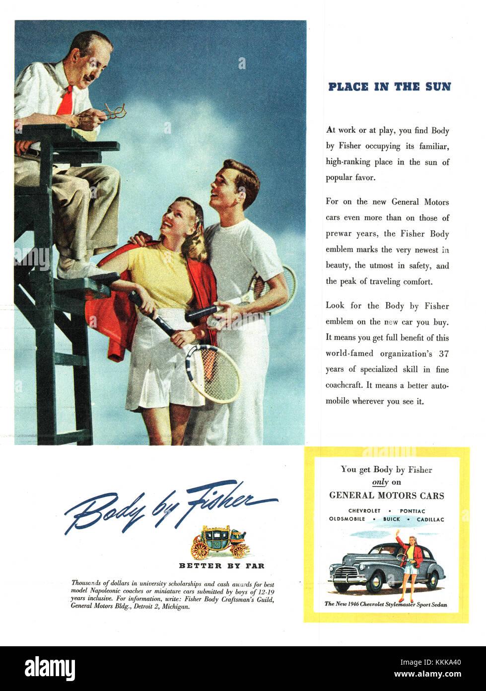 1946 U.S. Magazine Fisher Car Body Advert - Stock Image