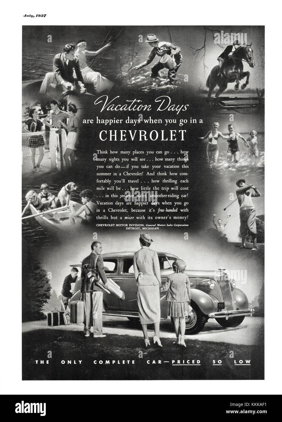 1937 U.S. Magazine Chevrolet Advert - Stock Image