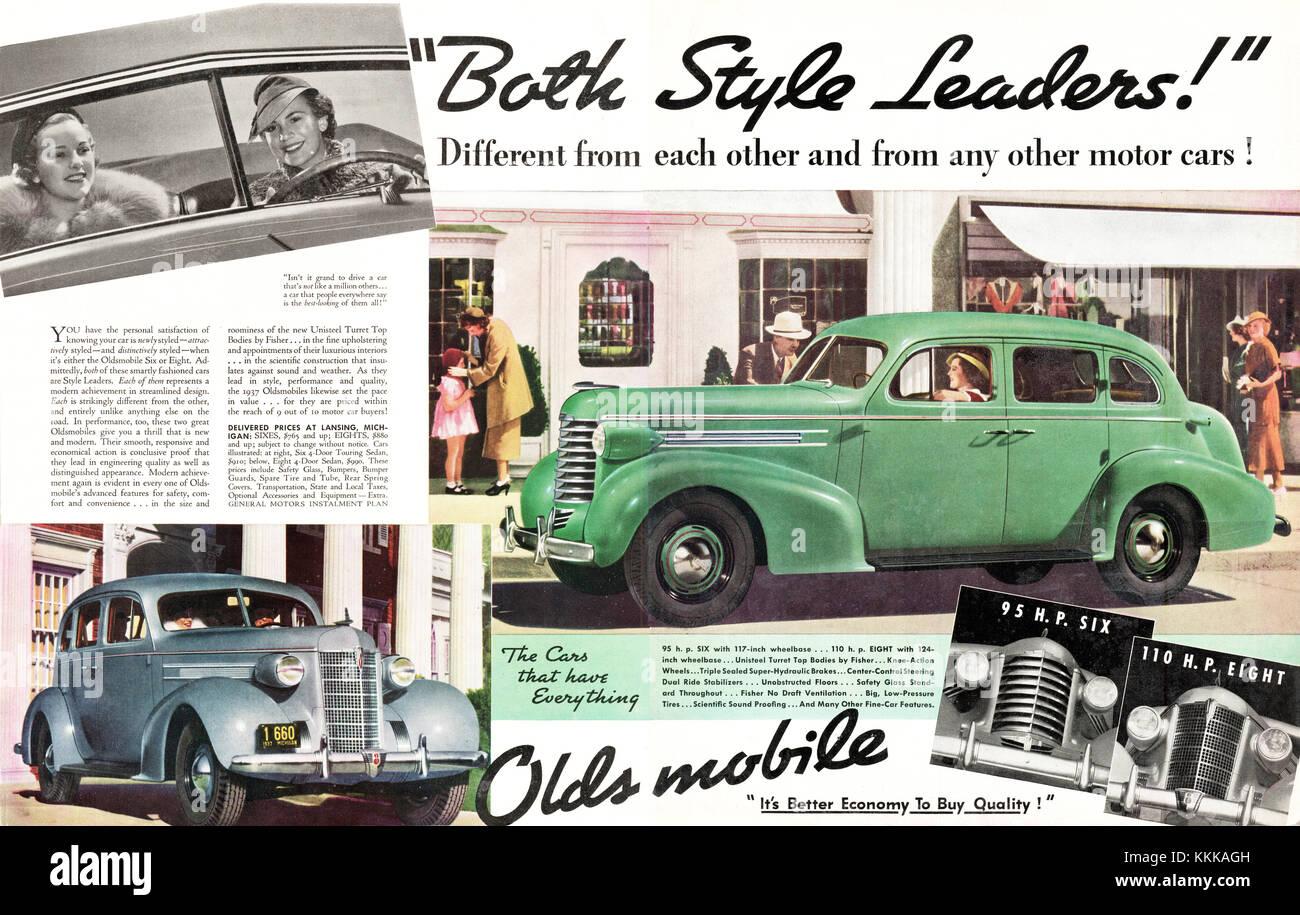1937 U.S. Magazine Oldsmobile Cars Advert - Stock Image