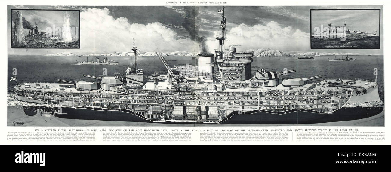 1938 UK Magazine Illustration Battleship HMS Warspite - Stock Image