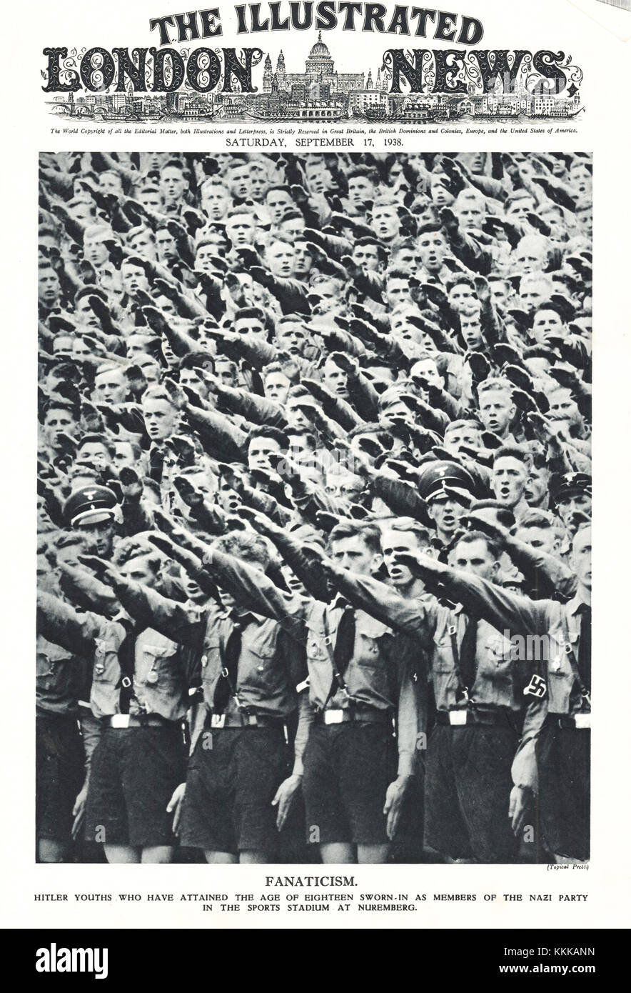 1938 UK Magazine Illustration Hitler Youth at Nuremberg - Stock Image
