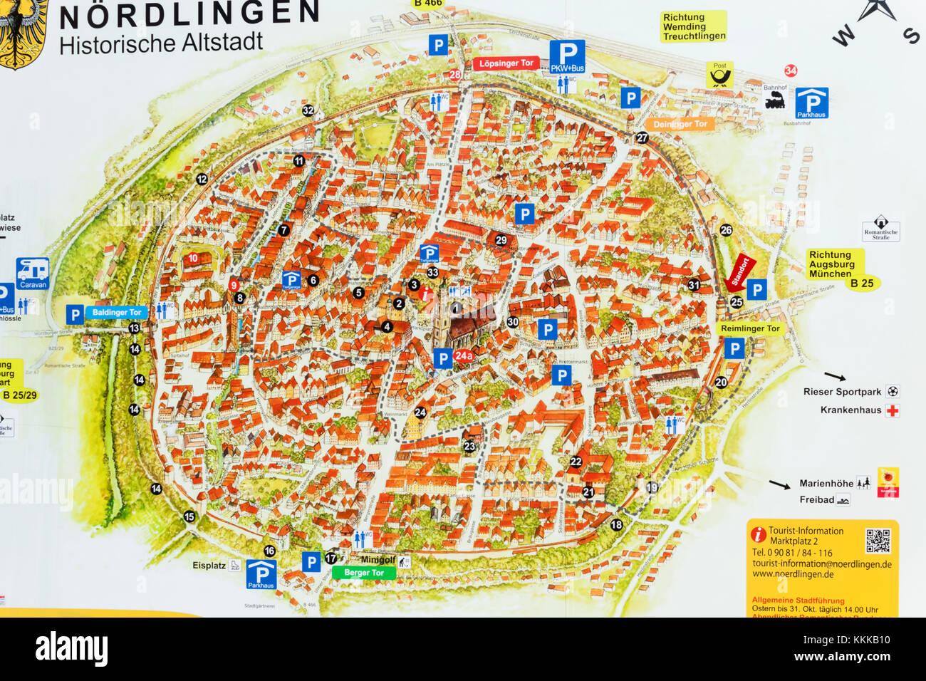 Germany Bavaria Romantic Road Nordlingen Nordlingen Street Map