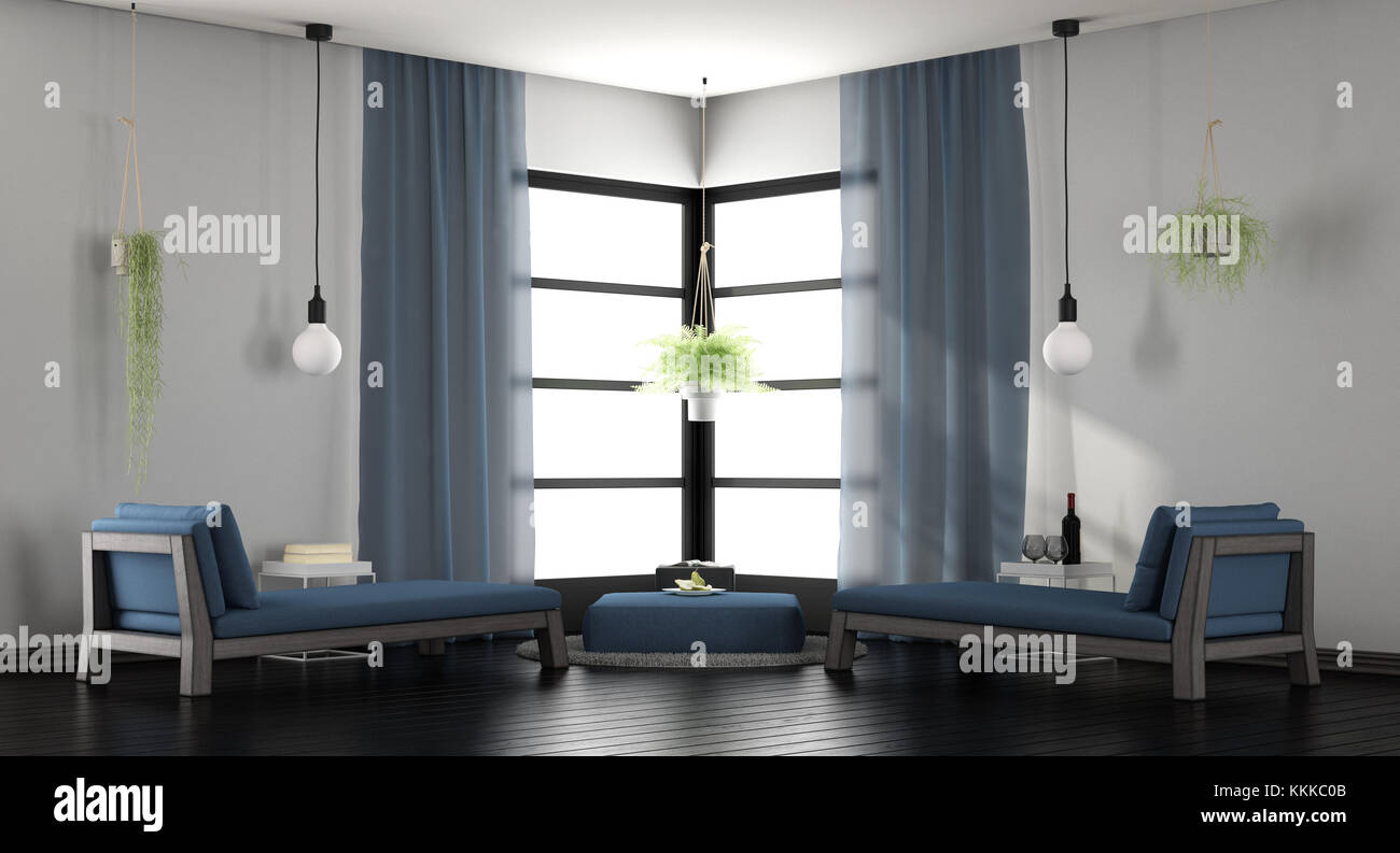 . Modern white and blue living room with two chaise lounges   3d Stock