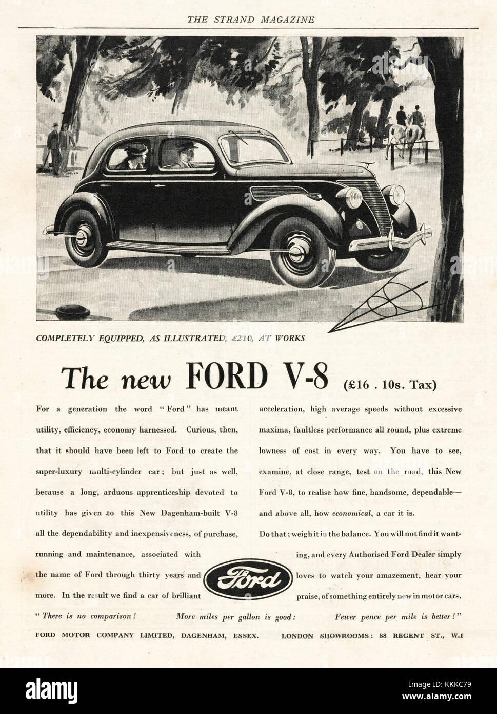 1936 UK Magazine Ford Car Advert - Stock Image