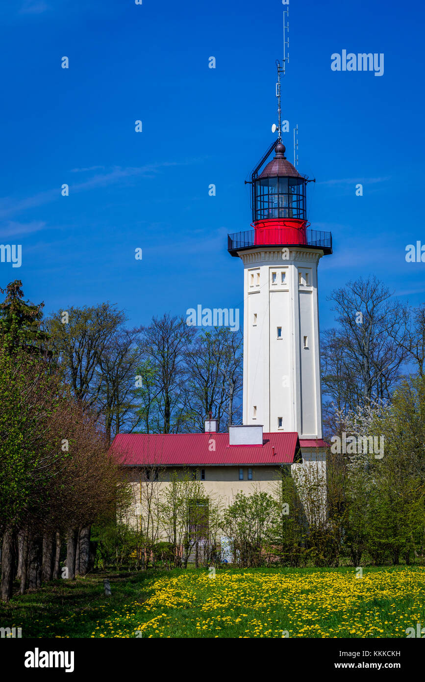 So called new lighthouse (but now inactive) in Rozewie village on the Baltic Sea coast in Pomerania region, Poland - Stock Image