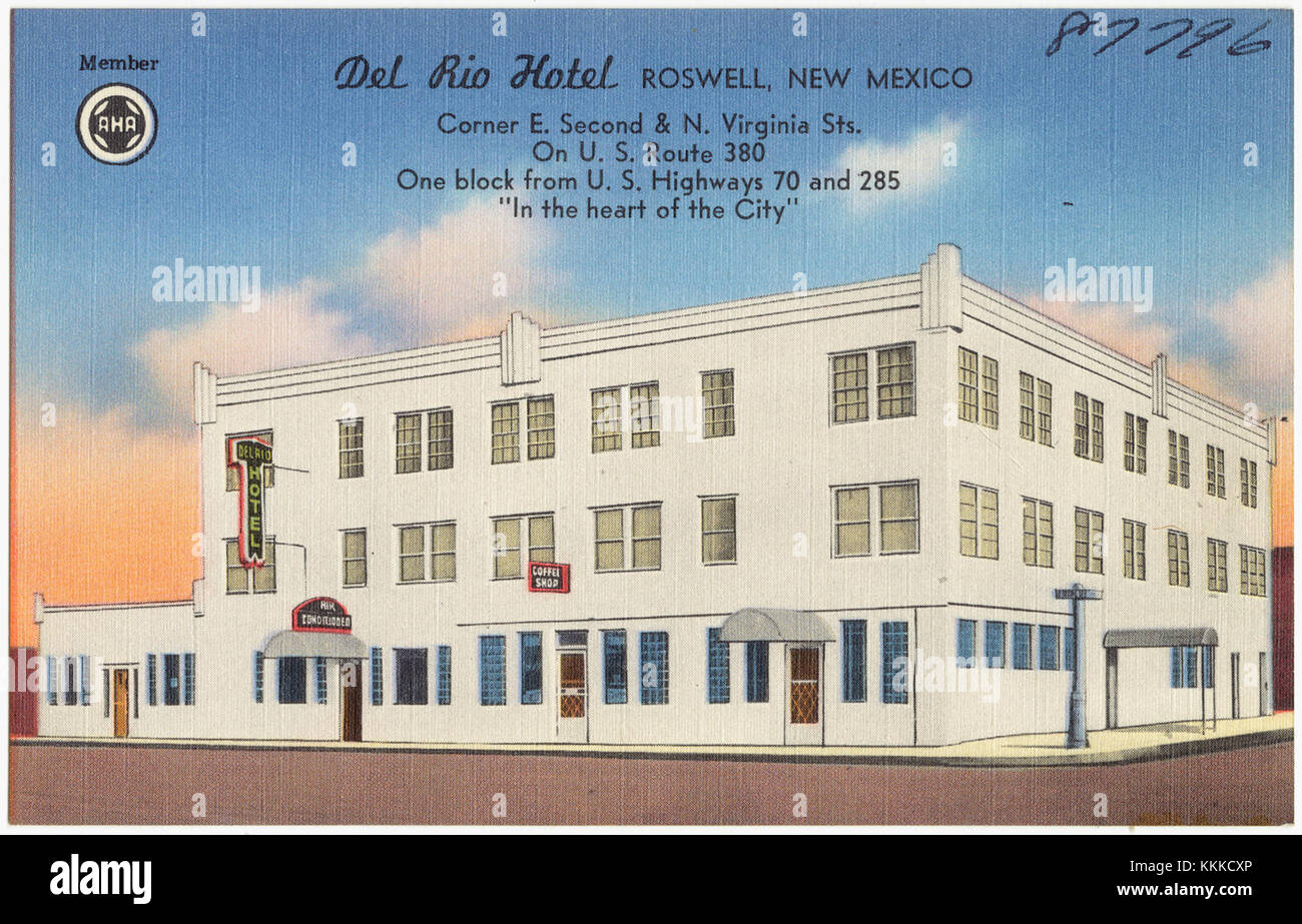 Roswell City Stock Photos Images Alamy Wiring Diagram Del Rio Hotel New Mexico Corner E Second And N
