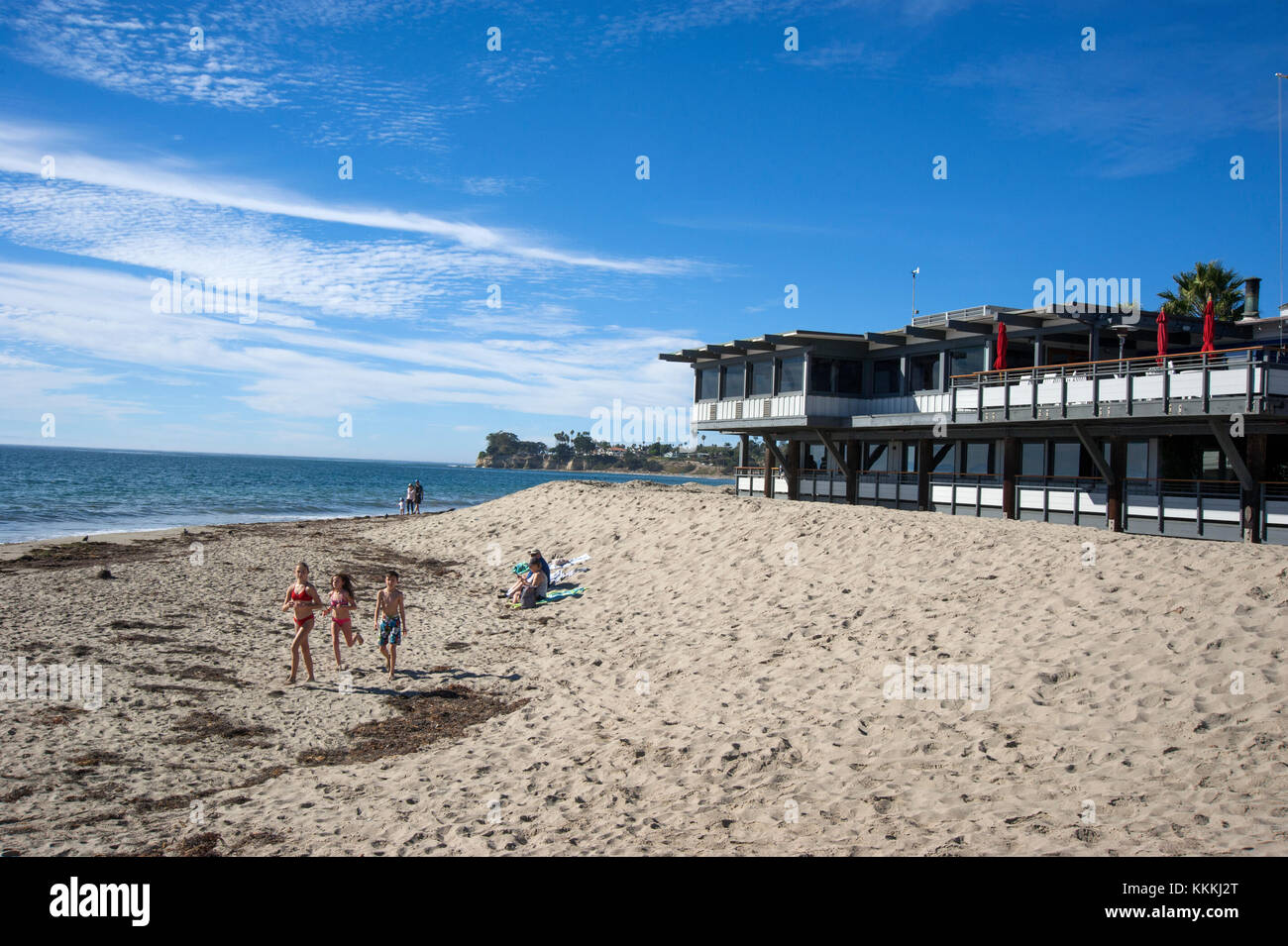 Yacht club and beach at Santa Barbara Harbor in California, USA - Stock Image