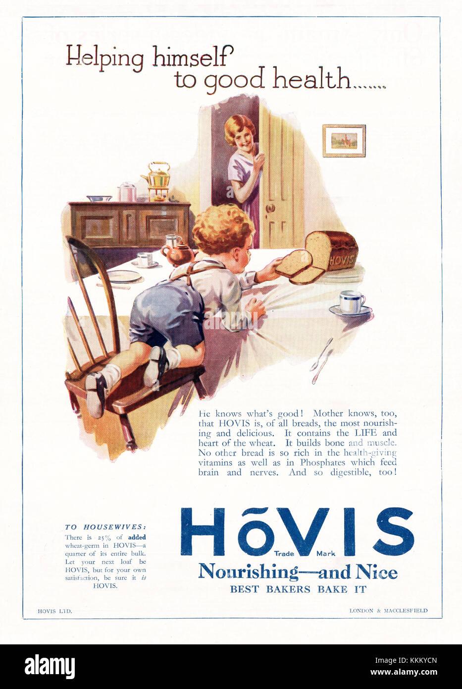 1927 UK Magazine Hovis Advert - Stock Image
