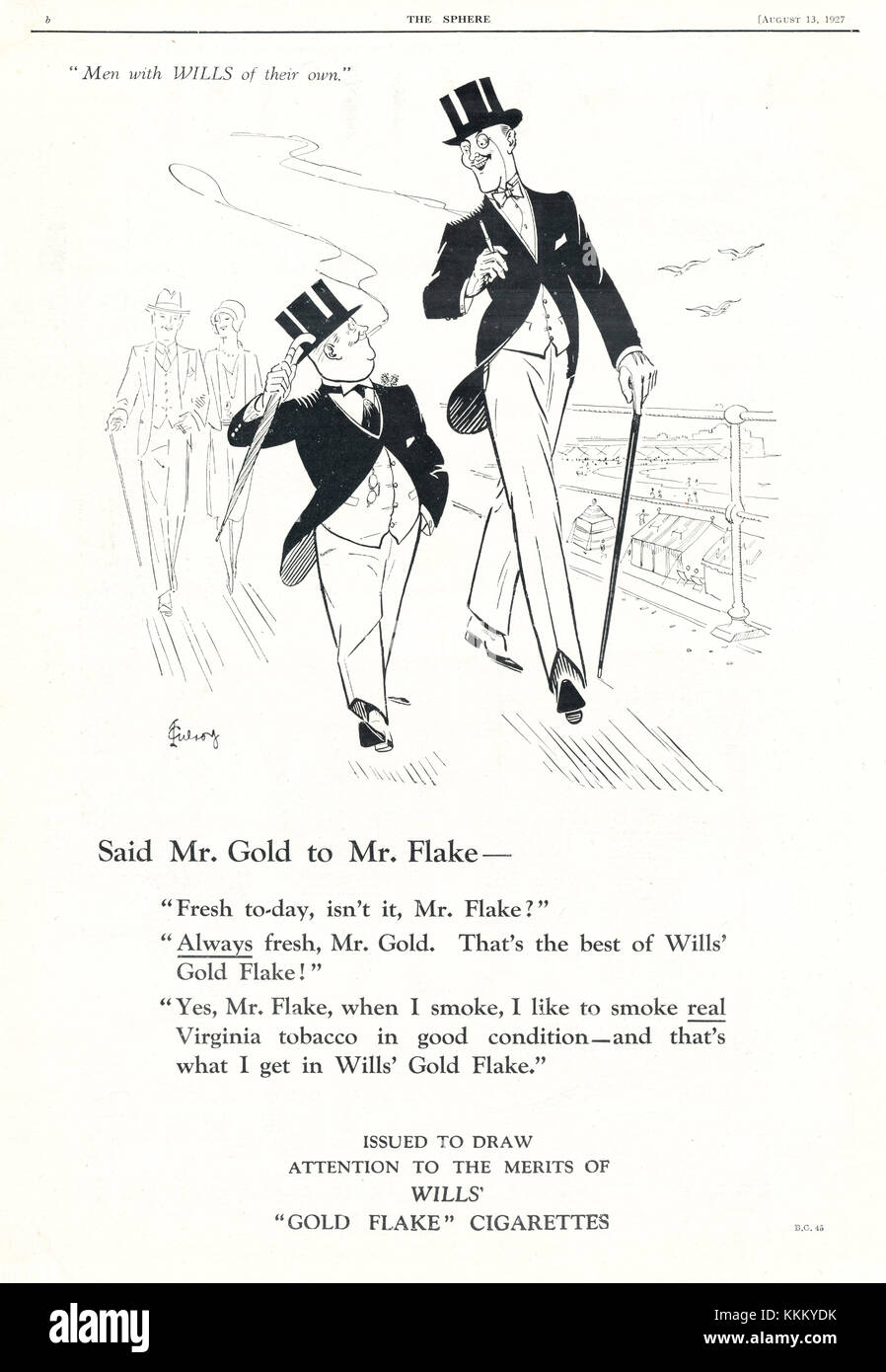 1927 UK Magazine Gold Flake Cigarette Advert - Stock Image