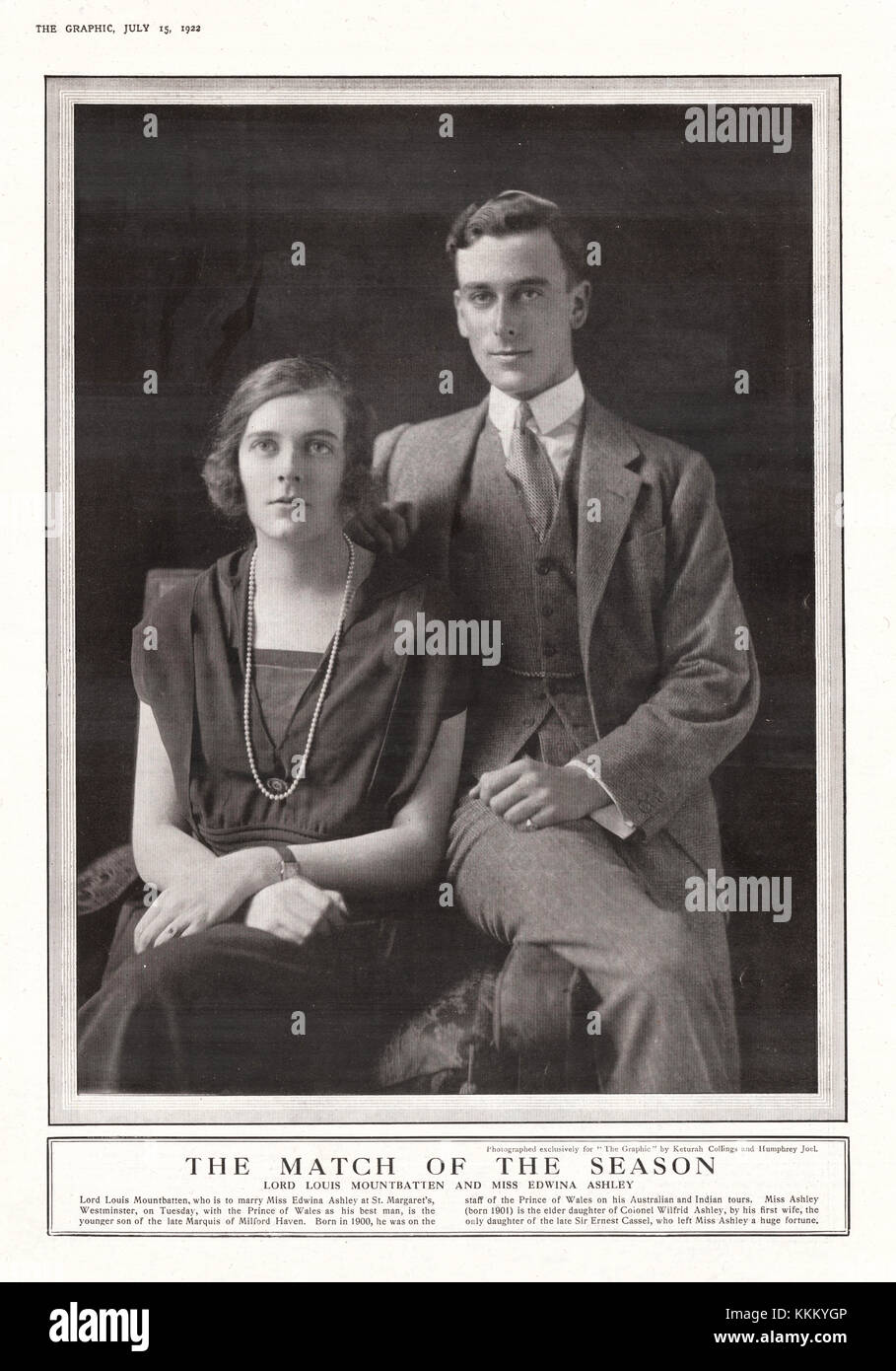 1922 The Graphic Lord Louis Mountbatten & Miss Edwina Ashley - Stock Image