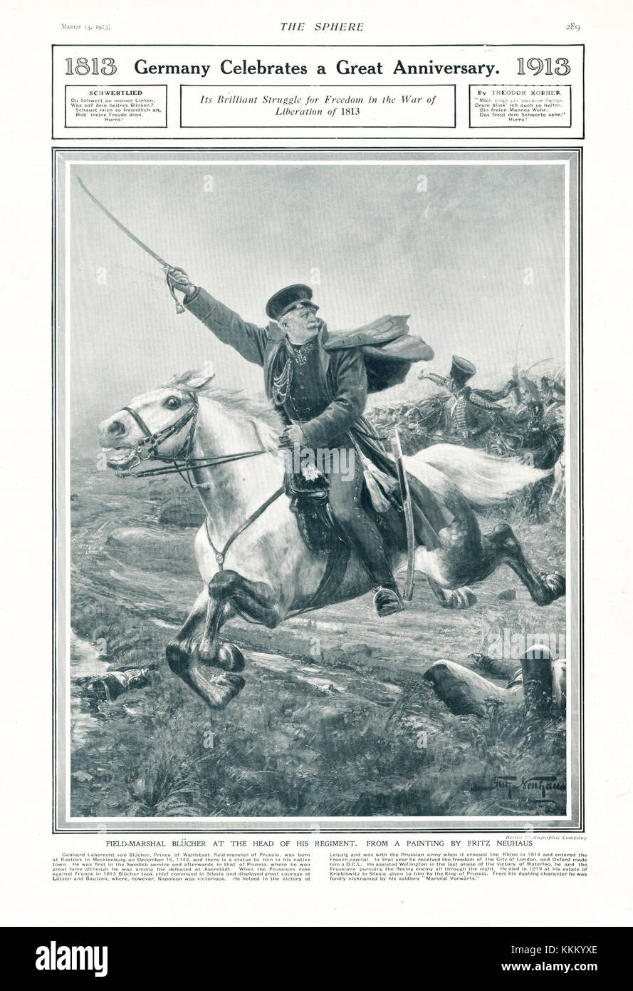 1913 The Sphere Field Marshal Blücher charging at the head of his regiment - Stock Image