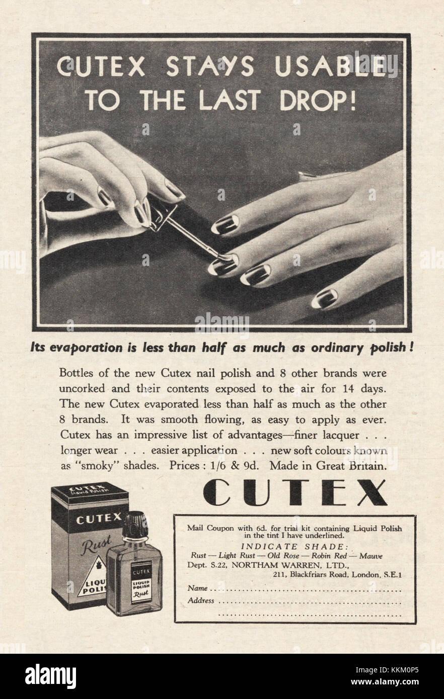 1934 UK Magazine Cutex Nail Polish Advert Stock Photo: 167011437 - Alamy