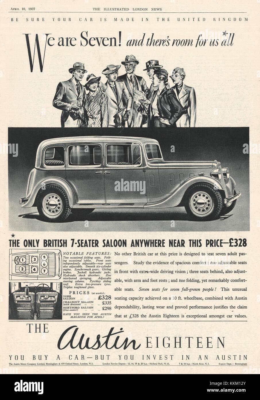 1937 UK Magazine Austin Eighteen Car Advert - Stock Image