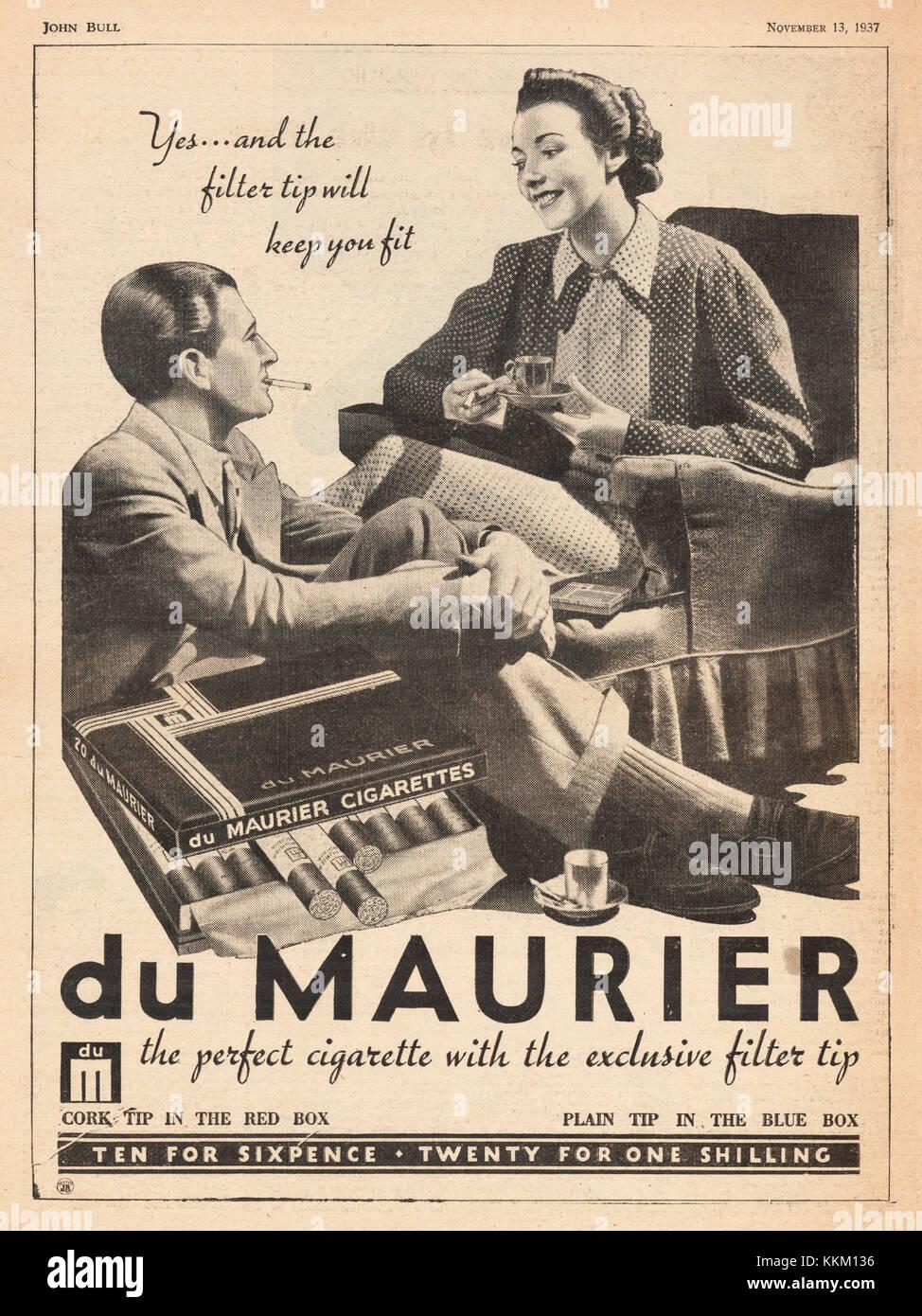 1937 UK Magazine Du Maurier Cigarettes Advert - Stock Image