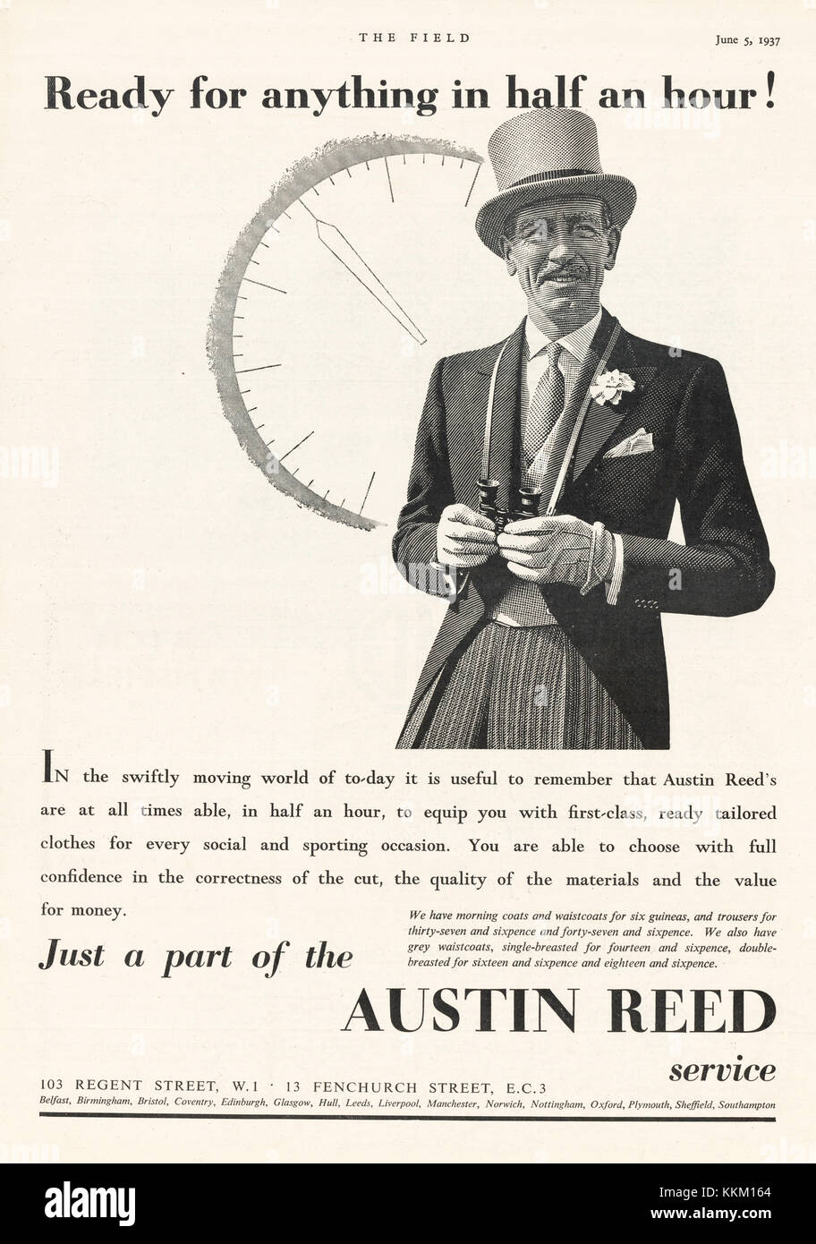 1937 Uk Magazine Austin Reed Advert Stock Photo Alamy