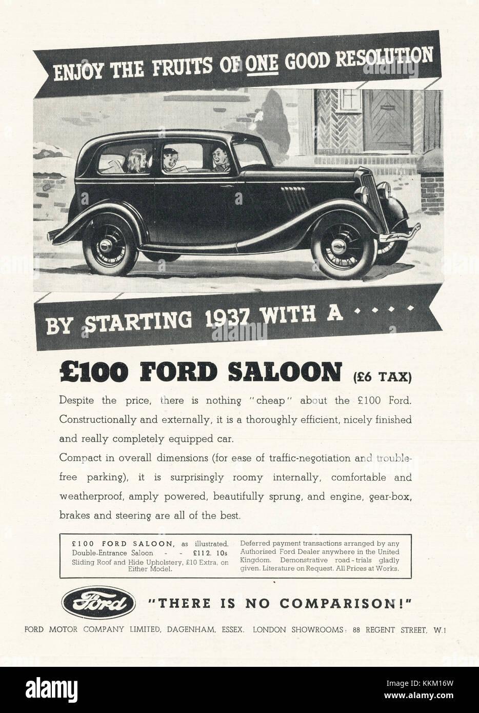 1937 UK Magazine Ford Car Advert - Stock Image