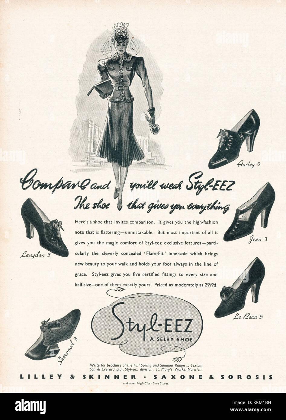 1937 UK Magazine Styl-eez Shoes Advert - Stock Image