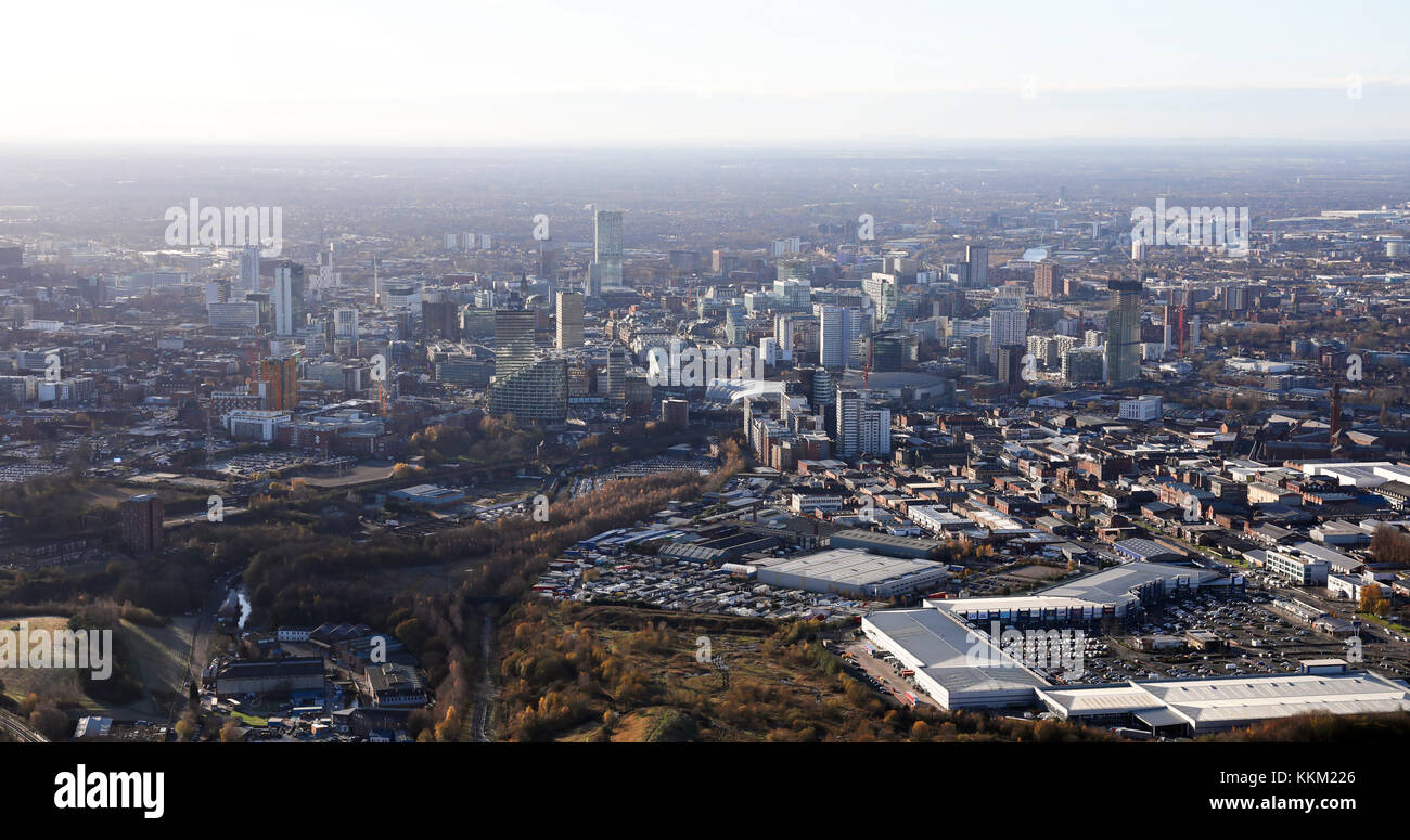aerial view of the Manchester skyline from the east, UK - Stock Image
