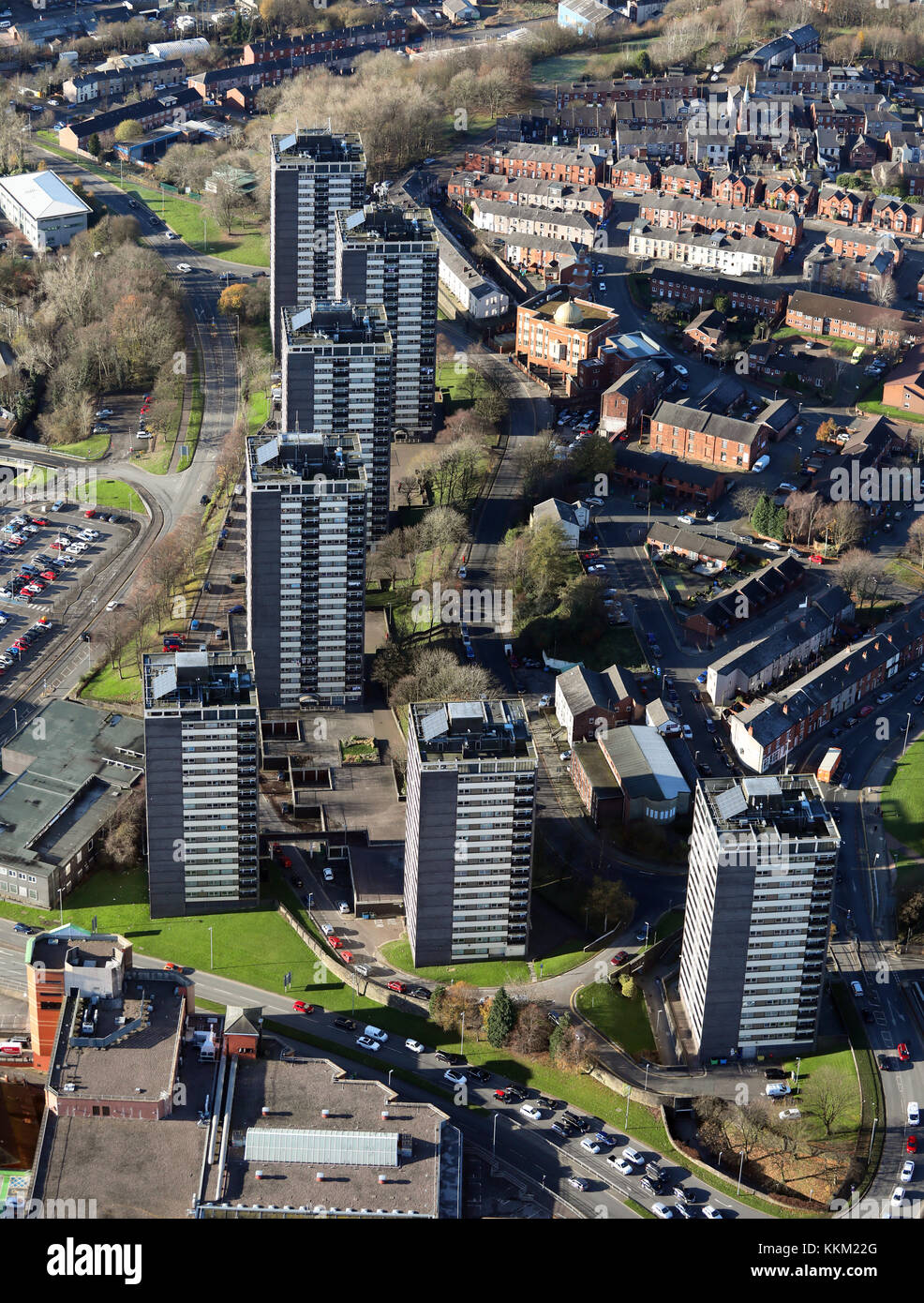 aerial view of Rochdale 7 tower blocks, UK - Stock Image