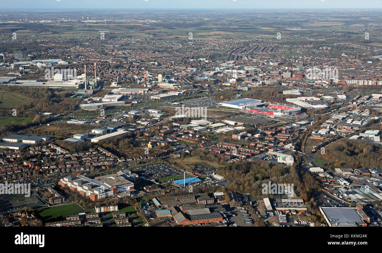 aerial view of St Helens on Merseyside, UK - Stock Image