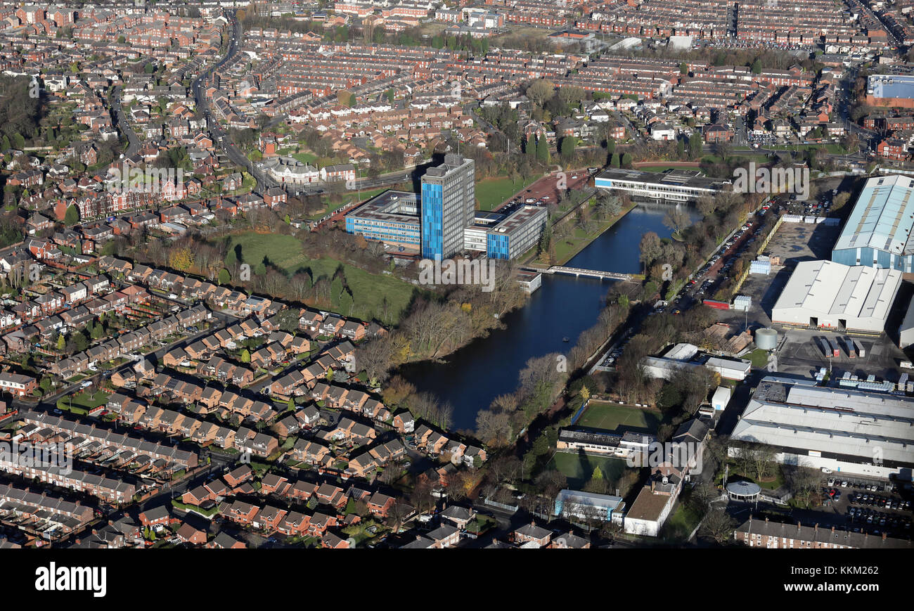 aerial view of Alexandra Business Park, St Helens, UK Stock Photo