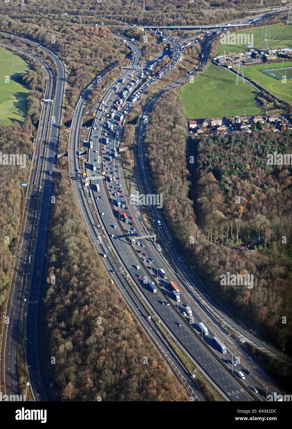 aerial view of traffic where the M61 meets the M60 at Wardley near Bolton, UK - Stock Image