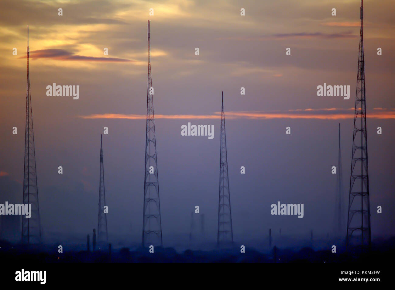 Telecommunication tower in west side of Jakarta - Stock Image