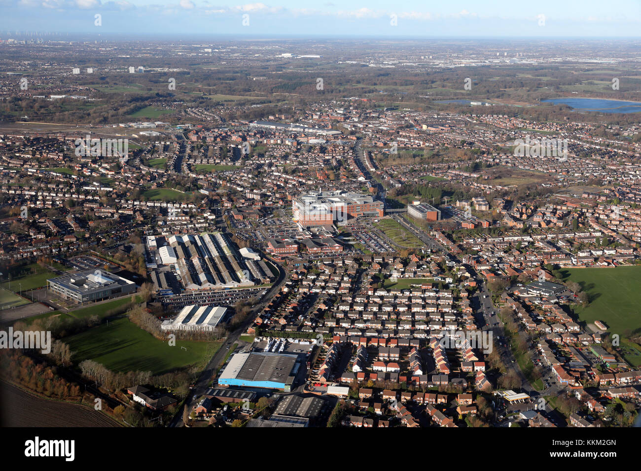 aerial view of Whiston in Lancashire, UK - Stock Image