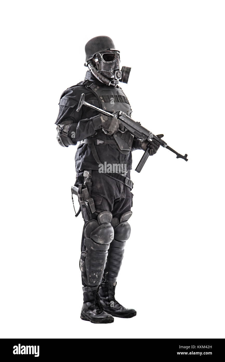 Futuristic nazi soldier with schmeisser - Stock Image