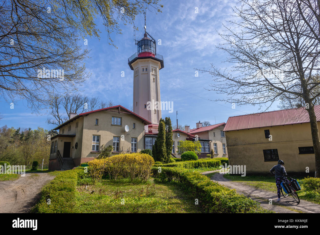 So called new lighthouse (but inactive) in Rozewie village on the Baltic Sea coast in Pomeranian Voivodeship of - Stock Image