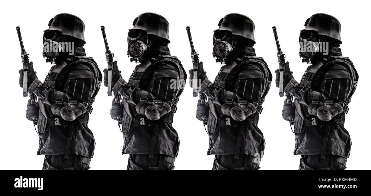 Futuristic nazi soldier sentry - Stock Image