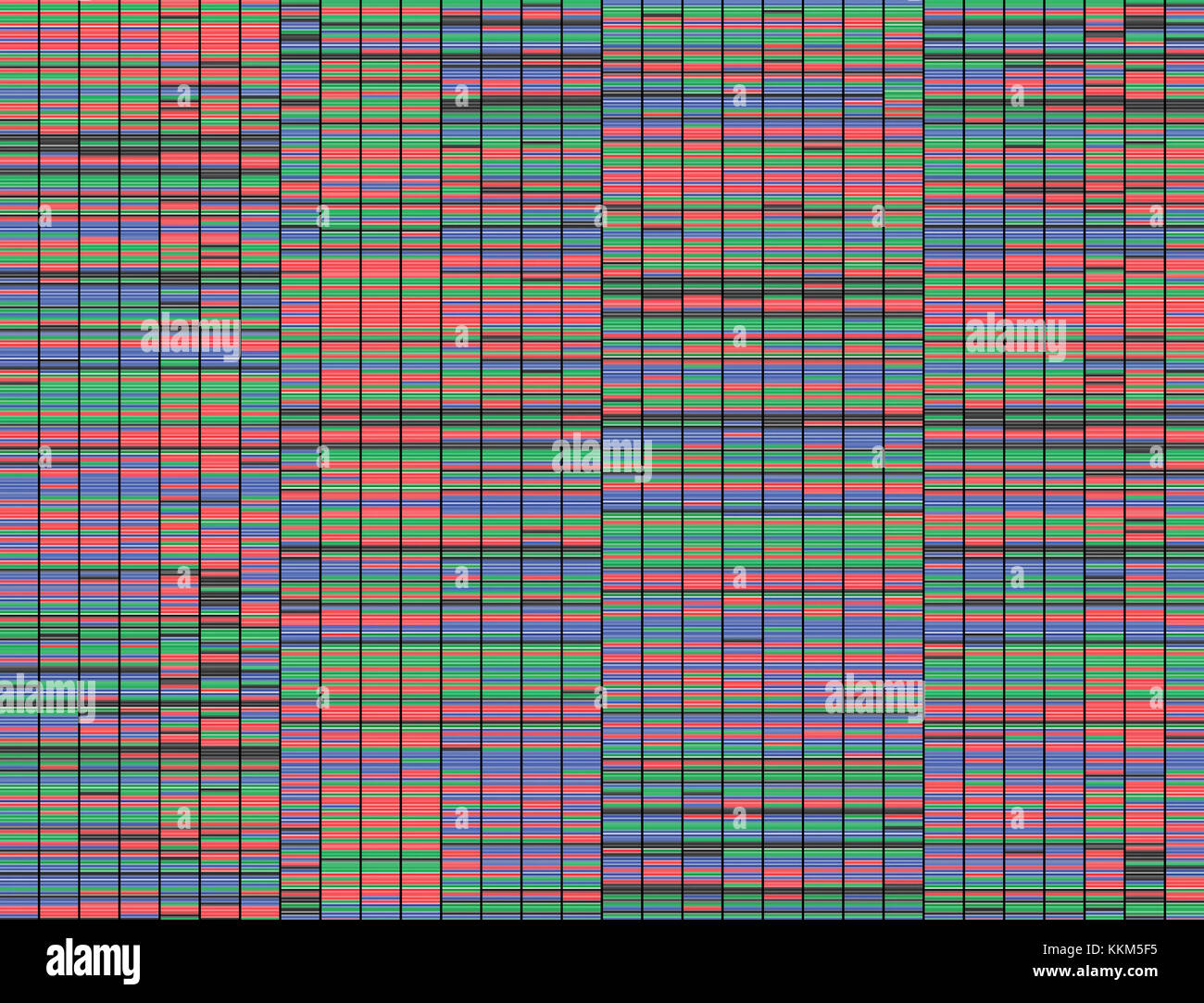 Illustration of a method of colored DNA sequencing. - Stock Image