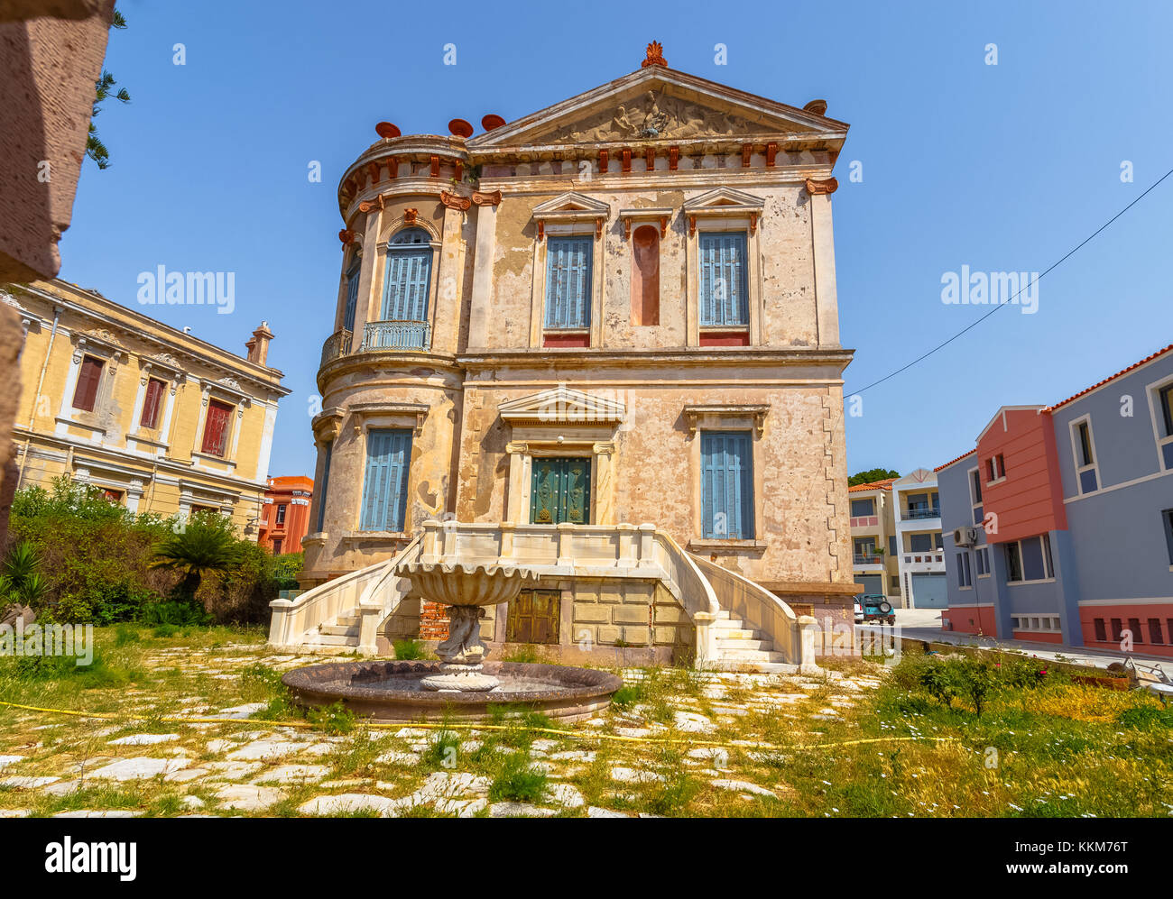 Typical colorful Mediterranean style mansion built in classical