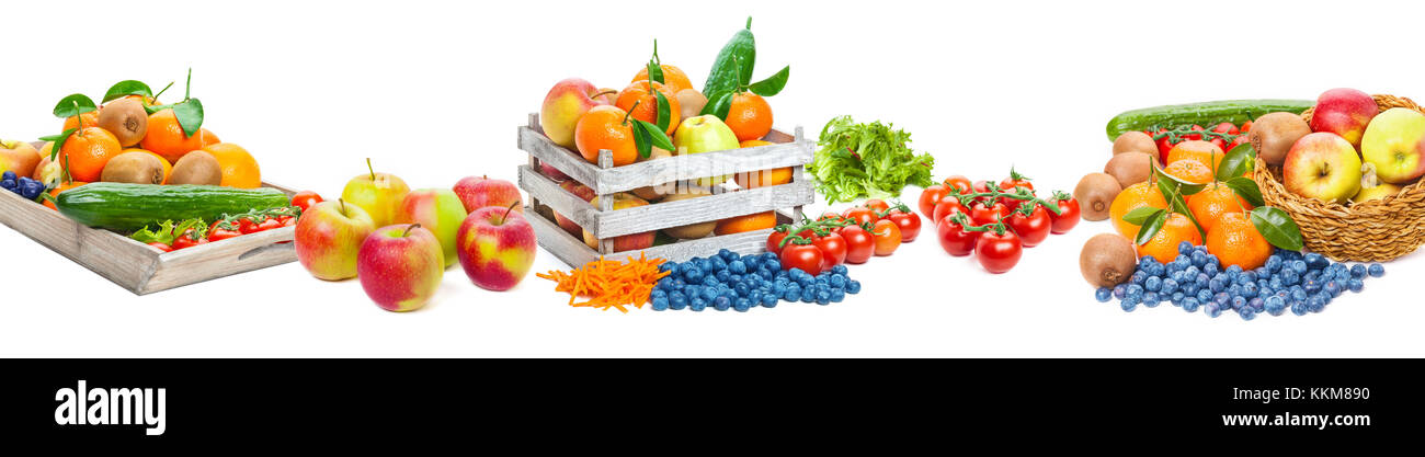 Fruit And Vegetables Isolated As A Banner Stock Photo Alamy