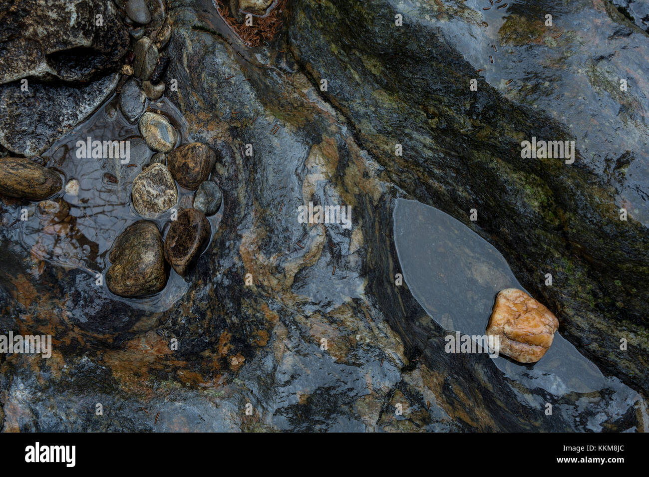 Stones in the stream course of the Schwarzer Regen, Bavarian Forest, Bavaria, Germany, - Stock Image