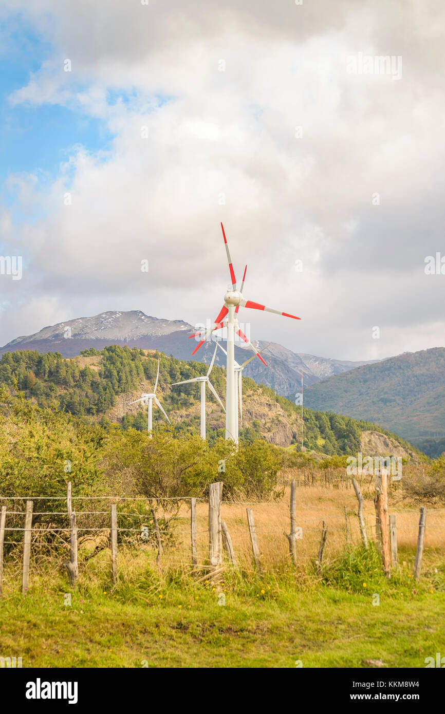 AYSEN, CHILE, APRIL - 2017 - Eolic energy windmills at andean field in Aysen district, Chile - Stock Image