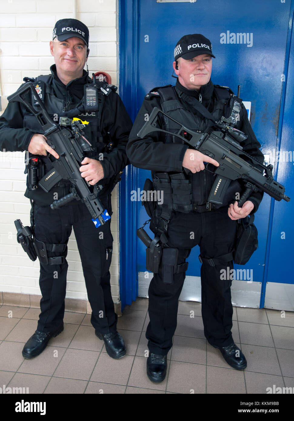 Armed police officers in Hunterston B Nuclear Power station, West Kilbride, North Ayrshire, Scotland - Stock Image