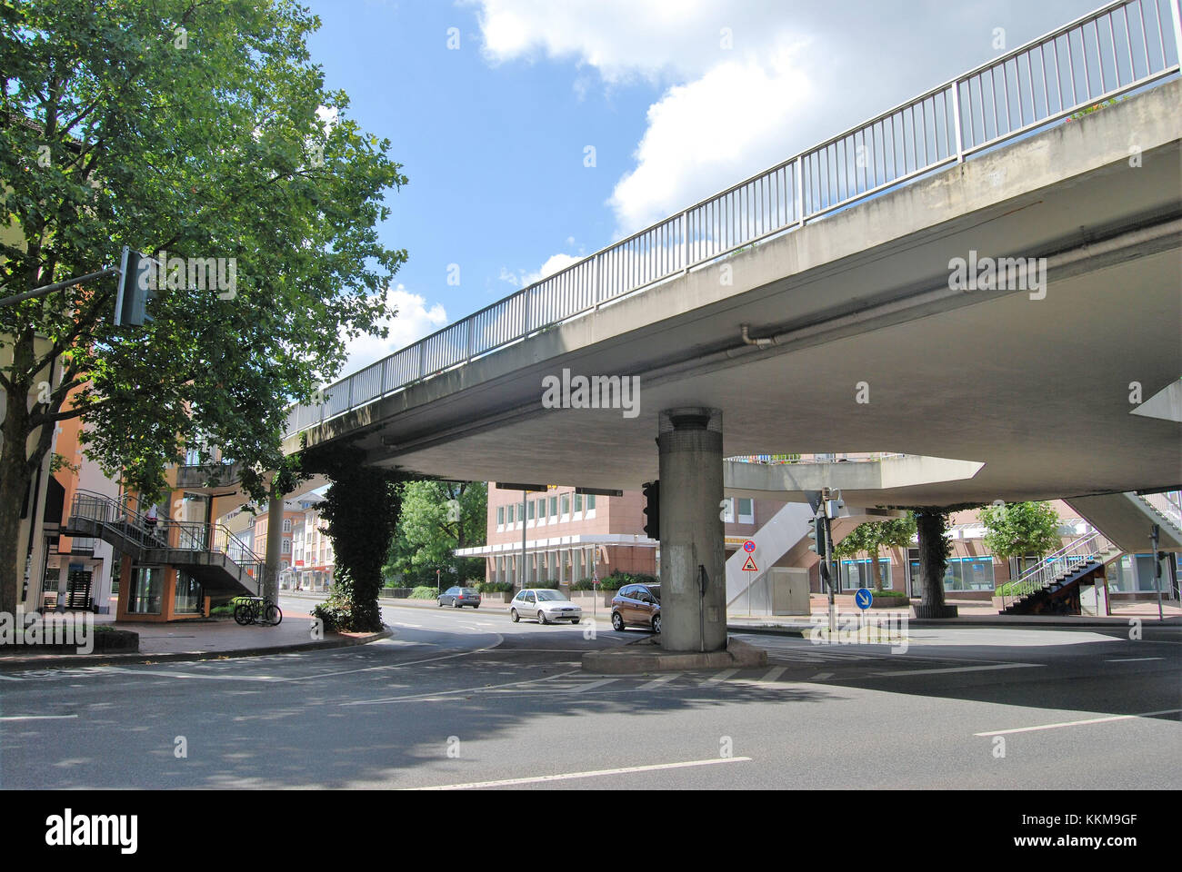 The so-called 'elephant's loo' is a pedestrian's overpass at the Selterstor in university town Giessen - Stock Image