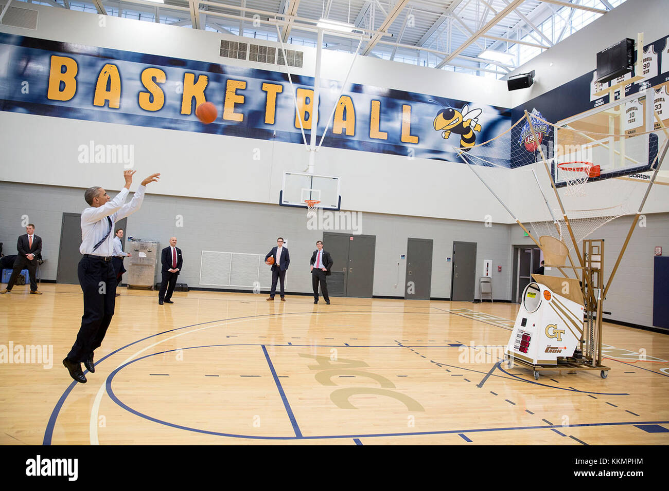 President Barack Obama Takes A Shot On The Basketball Court After He Stock Photo Alamy
