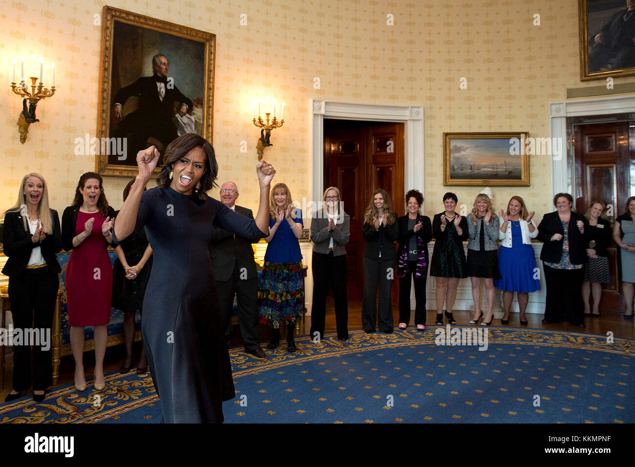 First Lady Michelle Obama cheers Counselor of the Year semi-finalists and finalists in the Blue Room prior to an - Stock Image