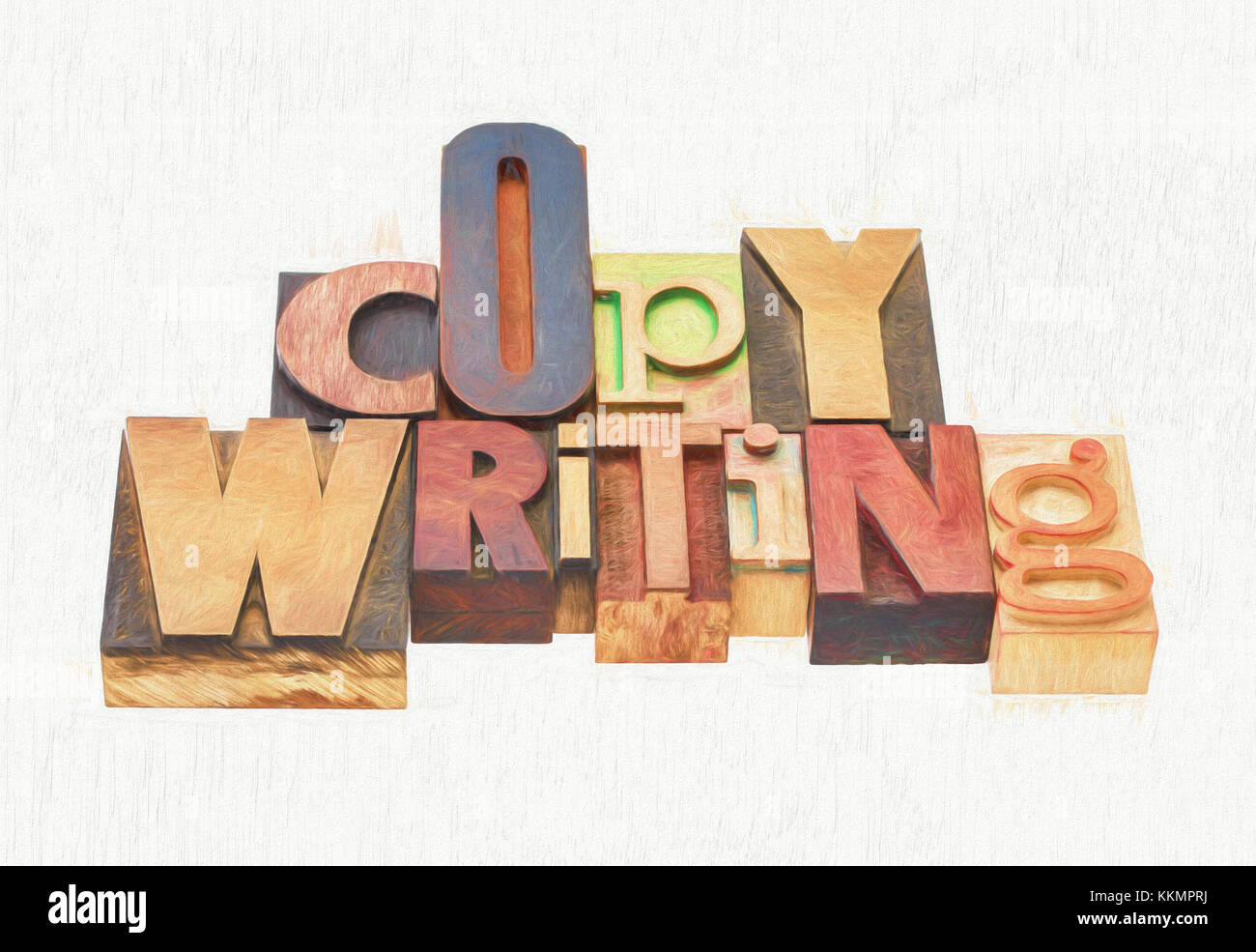 copywriting word  -  text in mixed letterpress wood type printing blocks, a photo with a digital painting effect - Stock Image