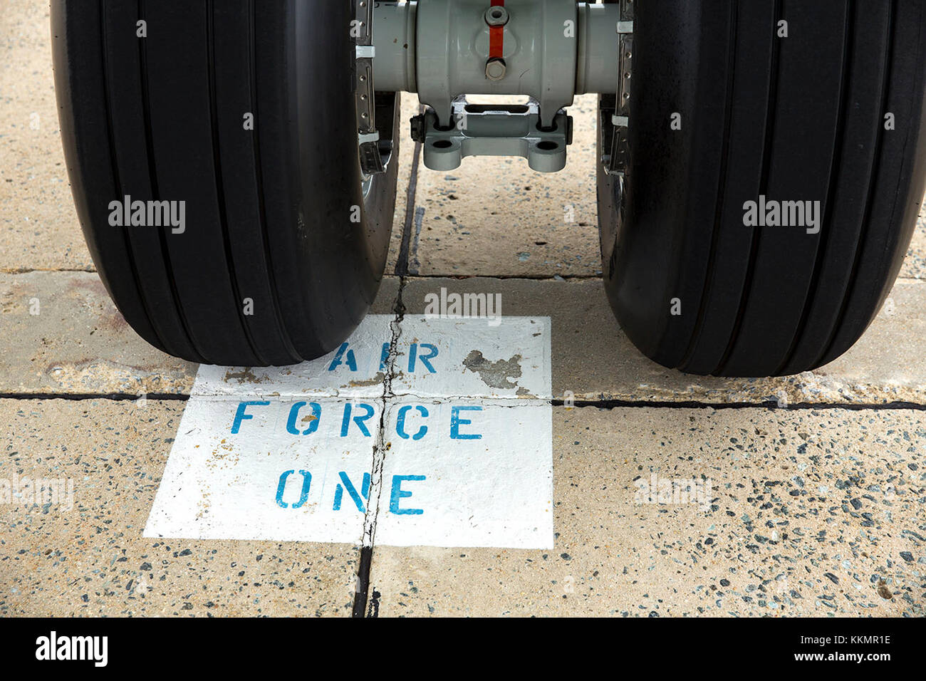 Detail of the wheels of Air Force One on the tarmac at Joint Base Andrews, Md., prior to President Barack Obama's - Stock Image