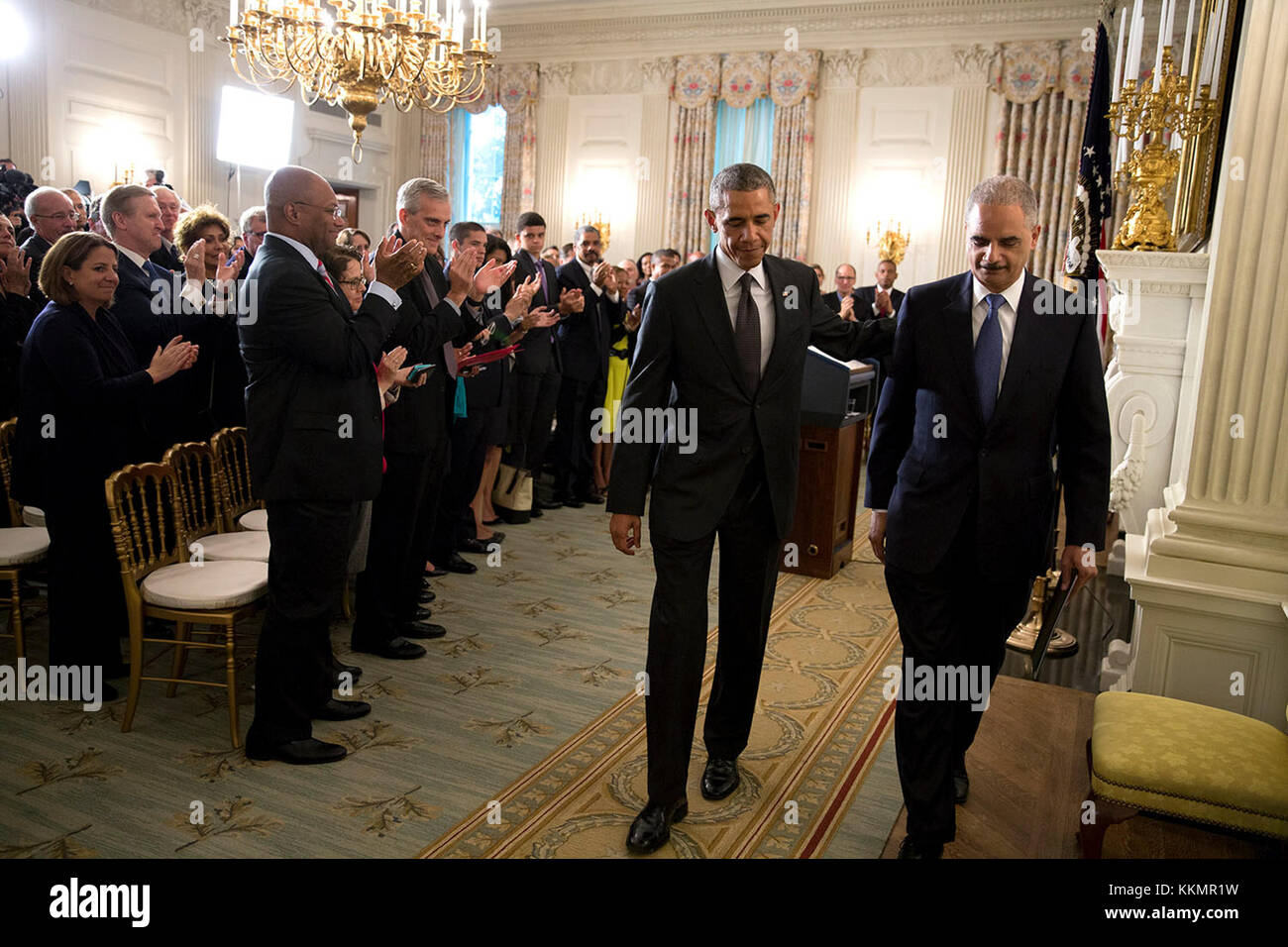 President Barack Obama and Attorney General Eric H. Holder, Jr., depart the State Dining Room of the White House - Stock Image