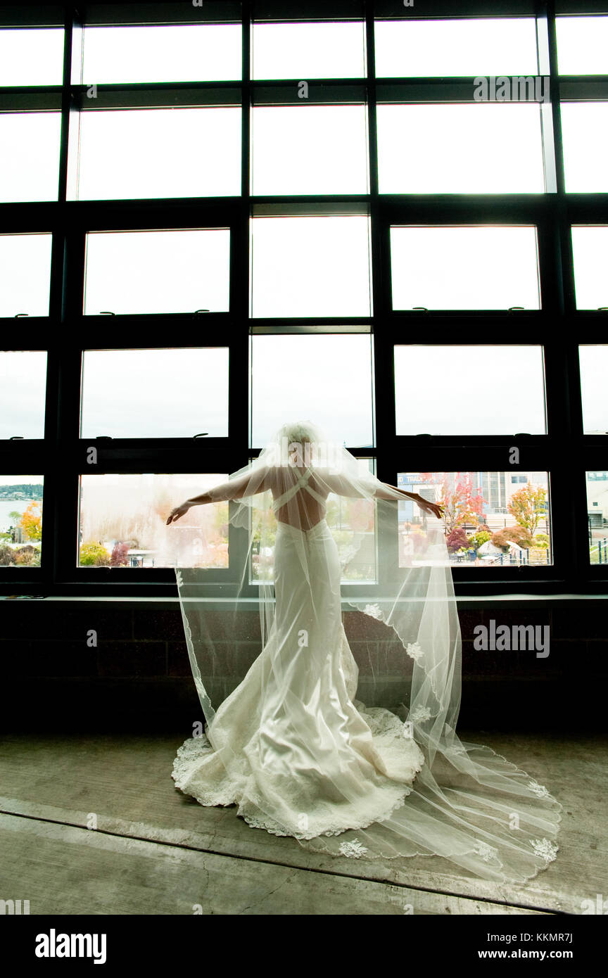 Bride in wedding gown and veil spreads her arms out lifting the veil in front of a big window - Stock Image