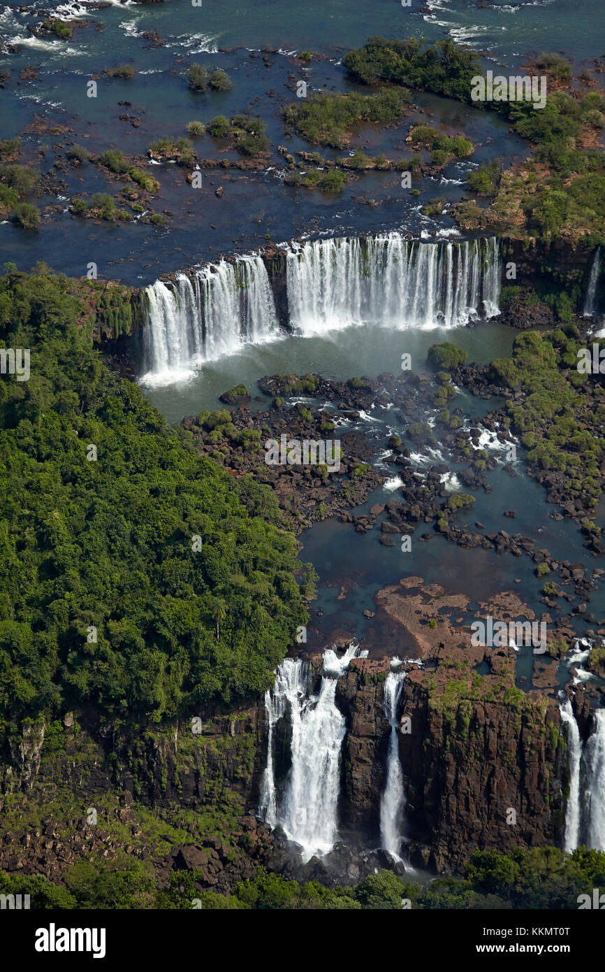 Argentinian side of Iguazu Falls, on Brazil - Argentina Border, South America - aerial - Stock Image