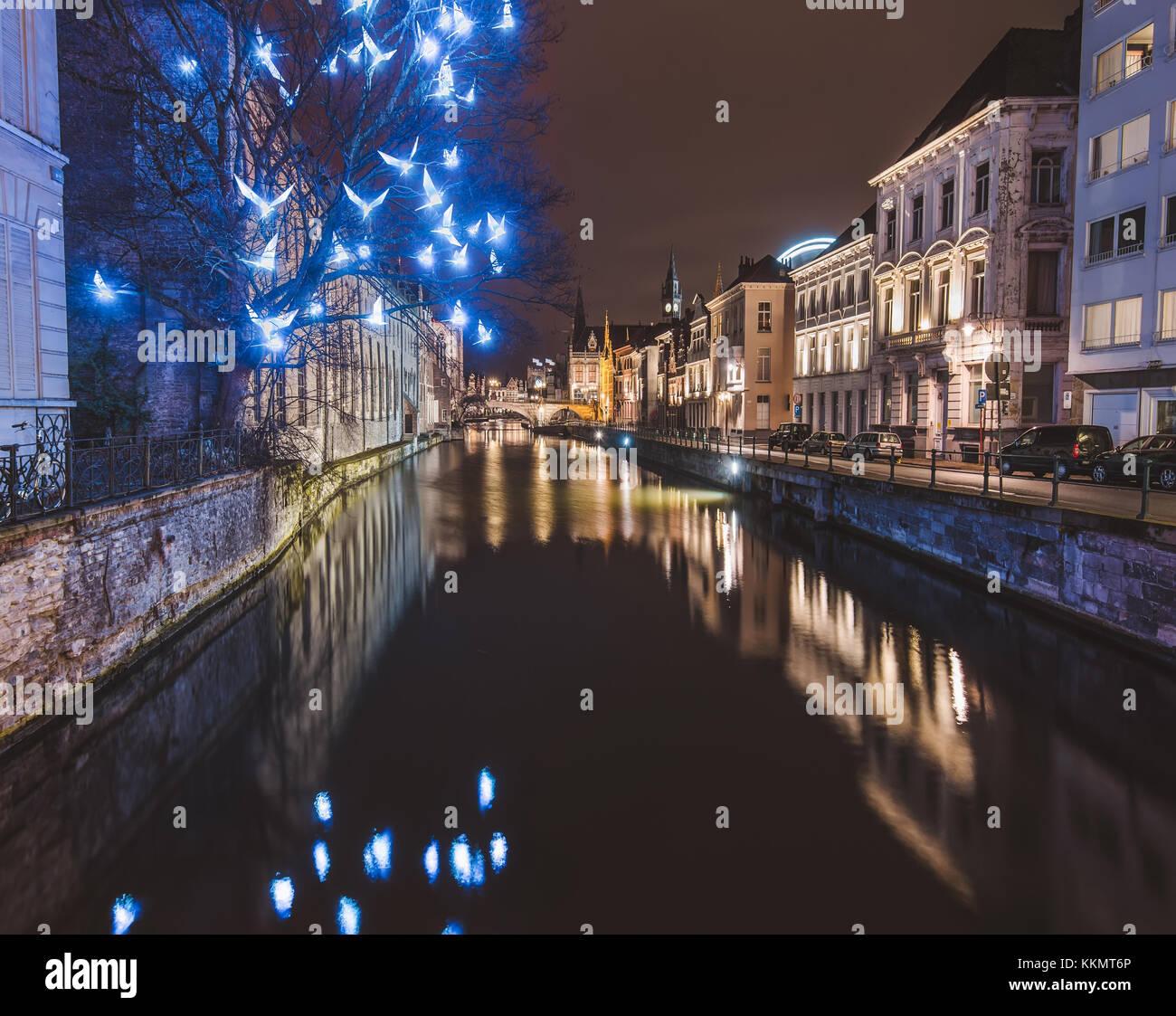 Ghent Christmas Illumination and Canal by Night - Stock Image